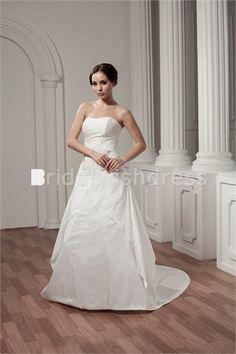 Beautiful Spring/ Fall Natural A-Line Zipper-back Wedding Dresses 2012