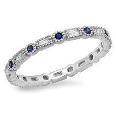 14K Gold Blue Sapphire White Diamond Ladies Vintage Wedding Eternity Stackable Ring >>> See this great product.