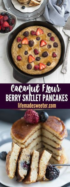 Oven Baked Coconut Flour Berry Skillet Pancakes - so soft, super fluffy paleo grain free and refined sugar free pancakes. Best of all, SO easy to make in the oven or on the stove. Makes the perfect healthy gluten free breakfast! @hodgsonmill #ad