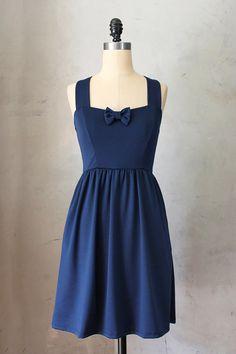 SWEETHEART - NAVY - Dark blue vintage inspired dress // nautical // retro // bridesmaid // pinup // bow // sweetheart neckline