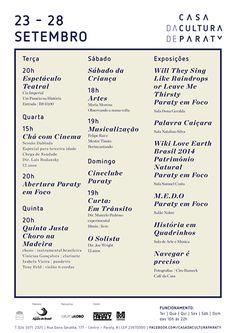 Programação Casa Da Cultura De Paraty, 23 a 28 de Setembro  #CasaDaCulturaParaty #QuintaJusta #música #evento #cultura #turismo #Paraty #PousadaDoCareca #exposição #arte #fotografia