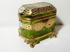 Bohemian Victorian Antique Gilt Enamel Glass Hand Painted Trinket Box Casket | eBay