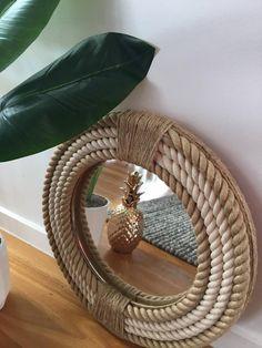 Handmade Hampton Style Round Rope Mirror Nautical Home Decor Round Mirror With Rope, Rope Mirror, Macrame Mirror, Diy Mirror, Beach Mirror, Estilo Hampton, Mirror Crafts, Handmade Mirrors, Diy Crafts For Home Decor