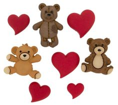 CARDMAKING//SEWING 5 STUFFED WITH LOVE TEDDY BEAR THEMED NOVELTY CRAFT BUTTONS