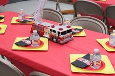 boy's fire truck birthday party guest table