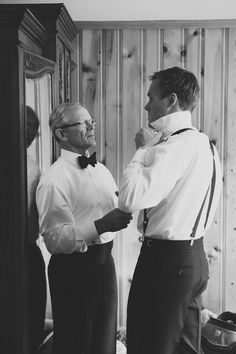 The Groom and Dad: You won't regret sending the photographer to check on the groom, because they're sure to capture the perfect father-son moment. We can't even deal with how sweet this is.