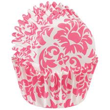 Pink Damask Mini Baking Cups