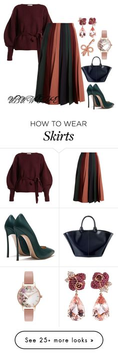"""""""BALLOON SLEEVE SWEATERS & PLEAT SKIRTS"""" by mchangwe on Polyvore featuring Sea, New York, Gabriela Hearst, The Row, Anyallerie and Olivia Burton"""
