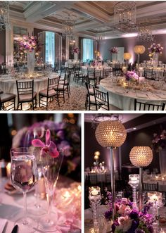 Kasey~like the soft look of this...maybe do grey tableclothes,and use purple on chair sash....soft purple lighting