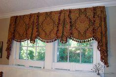 Tuscan style – Mediterranean Home Decor Kitchen Window Treatments, Custom Window Treatments, Kitchen Window Valances, Kitchen Curtains, Valance Patterns, Valance Ideas, Curtain Ideas, Drapery Ideas, Custom Valances