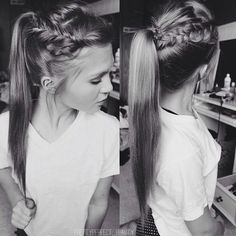 Lovely side crown braid into a high ponytail from Wish my hair could do this! Love Hair, Great Hair, Gorgeous Hair, Side Braid Ponytail, Twisted Hair, High Ponytails, Tips Belleza, Hair Dos, Pretty Hairstyles