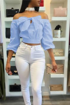 Lovely Stylish Bateau Neck Long Sleeves Bow-Tie Decorative Blue Cotton Shirts(Without Choker) Classy Outfits, Casual Outfits, Cute Outfits, Fashion Outfits, Women's Fashion, Off Shoulder Fashion, Mode Chic, Bow Blouse, African Fashion Dresses