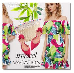 """Welcome to Paradise: Tropical Vacation"" by svijetlana ❤ liked on Polyvore featuring Paul Andrew, TropicalVacation and shein"