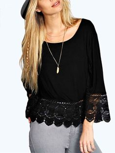Trendy Style Scoop Neck Lace Splicing Long Sleeve T-Shirt For Women