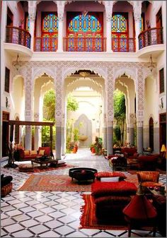 Would love to have an outside room like this Moroccan inspired area. My favorite part about the room is that there is natural sunlight and it is not completely closed in. Reminds me of my stay at a Riad in Marrakech. Moroccan Design, Moroccan Decor, Moroccan Style, Moroccan Lanterns, Moroccan Bedroom, Modern Moroccan, Turkish Design, Indian Style, Riad Marrakech