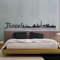 """Adesivo Murale - Travel Makes You Richer. Viaggiare ti arricchisce. Adesivo murale di alta qualità con pellicola opaca di facile installazione. Lo sticker si può applicare su qualsiasi superficie liscia: muro, vetro, legno e plastica. L'adesivo murale """"Travel Makes You Richer"""" è ideale per decorare la camera da letto. Adesivi Murali."""