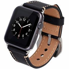 Apple Watch Band 42mm iWatch Strap Premium Vintage Crazy Horse Genuine Leather Replacement Watchband with Stainless Metal Clasp for All Apple Watch Sport Edition (42MM black)