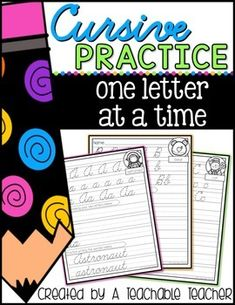 Make cursive handwriting fun and interesting for students!   printable cursive worksheets hand writing worksheets   hand writing practice kids   learning to write letters printables   teaching writing   teaching cursive writing kids   cursive letters