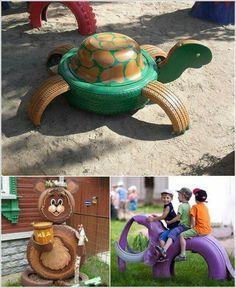 Reciclagem de pneus! Ideias para parquinho! #DIY #Reciclagem