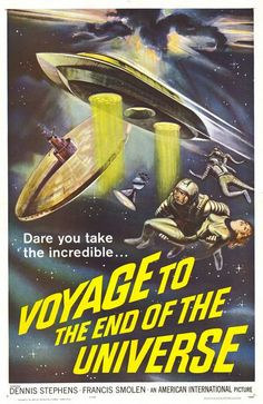 The 1963 classic movie poster. In 2163, Starship Ikarie XB 1 embarks on a long journey across the universe, to search for life on the planets of Alpha Centauri. The film was originally a Czechoslovak science fiction film. It was edited and dubbed into English for release in the USA a year later with alternate title, Voyage to the End of the Universe.
