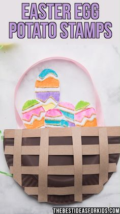 EASTER EGG POTATO STAMPS - such a fun Easter craft for kids! Make this easy Easter paper plate basket and fill it with potato stamped Easter eggs! This is a fun Easter craft activity for kids of all ages! Easter Craft Activities, Bunny Crafts, Easter Crafts For Kids, Easter Crafts For Preschoolers, Baby Activities, Preschool Crafts, Easter Eggs Kids, Easter Art, Fingerprint Crafts