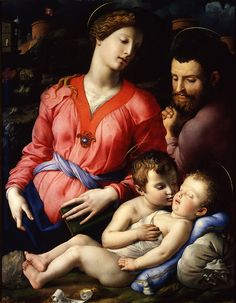 Tempera on panel. Free art print of The Madonna and Child with the Infant St. John the Baptist, known as The Panciatichi Madonna by Agnolo Bronzino. Renaissance Paintings, Renaissance Art, Italian Renaissance, Galerie Des Offices, Italian Paintings, Classic Paintings, Art Ancien, Blessed Mother Mary, Camille Pissarro