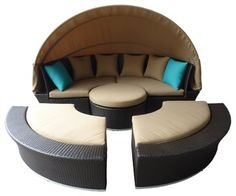 Supersized outdoor daybed perfect for entertainment, lounging, and lifestyle needs. It comes in premium quality UV-resistant resin wicker with espresso brown