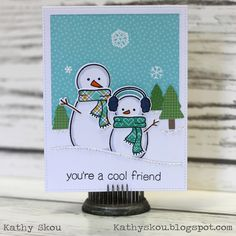 "card snowman snowmen, Lawn Fawn : Making Frosty Friends, ""you´re a cool friend"", Lawn Fawn Knit Picky paper pad, Lawn Fawnatics Challenge 16 Snowflake Cards, Christmas Snowflakes, Christmas Snowman, Winter Christmas, Christmas Crafts, Paper Cards, Diy Cards, Stamp Making, Card Making"