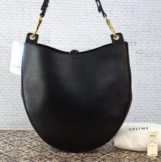 939dfe42e87 CELINE Lg Black Calfskin Leather Hobo Bag NWT Orig Ret $2800 ~ UNDERSTATED  LUXE! #