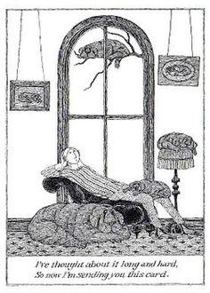 Edward Gorey postcard.