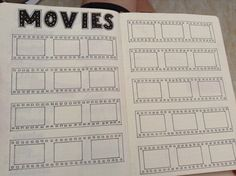My movies to watch page in my 2016 bullet journal