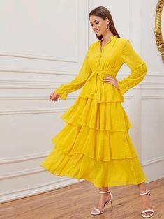 Yellow Swiss Dot Layered Ruffle Trim Belted Dress Source by cutespree Office Dresses Modest Dresses, Stylish Dresses, Elegant Dresses, Pretty Dresses, Casual Dresses, Office Dresses, Trendy Outfits, Beautiful Dresses, Summer Outfits