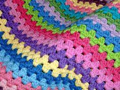 Stripey Blanket by Mary Granny Square Crochet Pattern, Crochet Granny, Crochet Yarn, Crochet Patterns, Crocheted Afghans, Easy Crochet Blanket, Love Crochet, Baby Knitting, Tatting