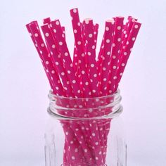 Fushia Mini Dots Solid Paper Straws - 25-pack