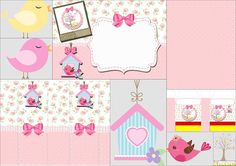 Beauty Birds: Free Printable Invitation, Box, Image and Backgrounds.