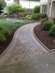 curved pathway to house