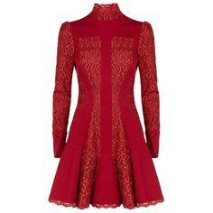 Alexander McQueen High Neck Lace Flare Dress