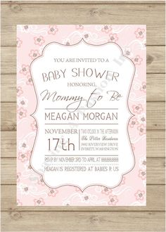 Shabby Chic Handmade Baby Shower Invitation Google Search Showers Pinterest Invites For And