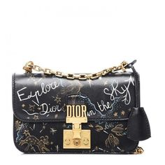 CHRISTIAN DIOR Lambskin Hand Painted Small Dioraddict Flap Bag Black ❤ liked on Polyvore featuring bags, handbags, shoulder bags, chain strap handbags, flap purse, chain strap purse, shoulder handbags and shoulder strap bags