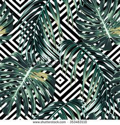 visit for more Tropical palm leaves, jungle leaves, beautiful seamless vector floral pattern background. Motif Tropical, Tropical Pattern, Tropical Leaves, Tropical Prints, Motif Jungle, Jungle Pattern, Textures Patterns, Print Patterns, Jungles