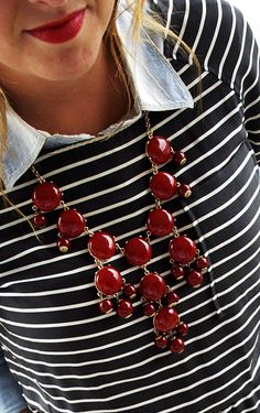 Layer a chambray under a crew-neck shirt instead of a sweater & add a chunky necklace