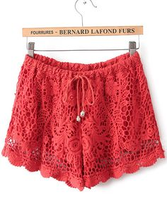 Red Drawstring Waist Hollow Lace Shorts - Fashion Clothing, Latest Street Fashion At Abaday.com