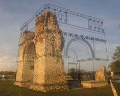Display outside of The Heidentor (Austria's best-known Roman monument and landmark of the Archaeological Park Carnuntum) has schematic of original monument on glass. This allows people to line up the original view with the current ruins. Architecture Drawings, Landscape Architecture, Architecture Design, Autocad 3d, Design Innovation, Visualisation, 3d Models, Augmented Reality, Building Design