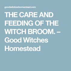 THE CARE AND FEEDING OF THE WITCH BROOM. – Good Witches Homestead