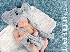 Jeffery Jr. the Elephant Animal Hat and Diaper cover Baby Set Crochet Pattern