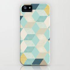 blue geometric iPhone Case by Filipa L - $35.00