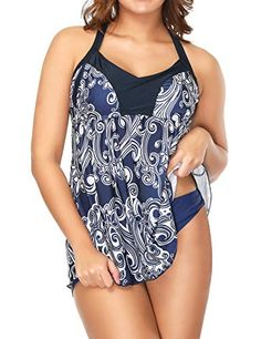67ab8a0042 Fashion Set · ZXZY Women Skirted Swimwear Blue and White Pattern Print Two  Piece Swimsuit, #Ad #