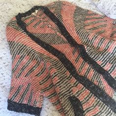Anthropologie Moth Long Sweater Cozy sweater from Anthropologie, size Large. Quarter sleeves and has pockets. Colors are navy and peach  Anthropologie Sweaters Cardigans