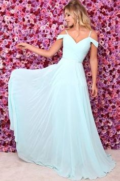 A Line Off Shoulder Prom Dresses, Sexy Chiffon Light Blue Long Evening Dress Pastel Prom Dress, Baby Blue Prom Dresses, Straps Prom Dresses, A Line Prom Dresses, Pretty Dresses, Beautiful Dresses, Bridesmaid Dresses, Chiffon Evening Dresses, Evening Gowns
