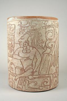 Vessel with Seated Lord. Mesoamerica, Mexico, Maya, 7th-8th century.